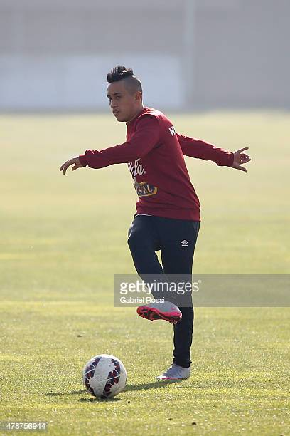 Christian Cueva of Peru during a training session at Universidad de Chile Training Camp on June 27 2015 in Santiago Chile Peru will face Chile in the...