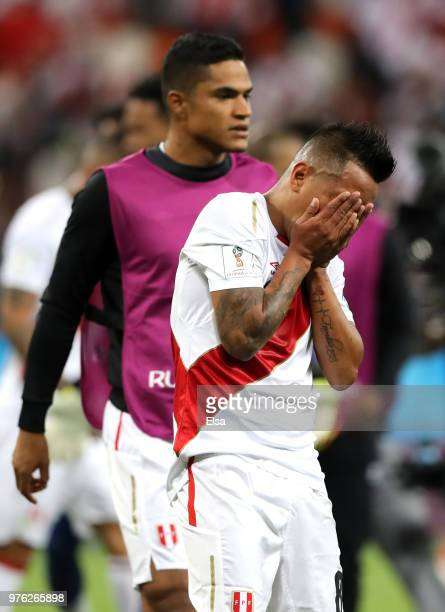 Christian Cueva of Peru looks dejected following the 2018 FIFA World Cup Russia group C match between Peru and Denmark at Mordovia Arena on June 16...