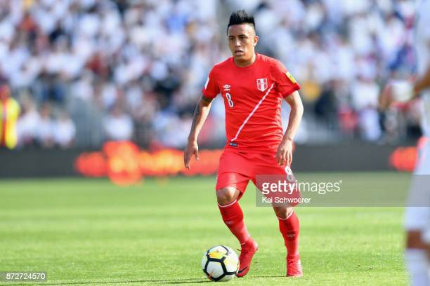 Christian Cueva of Peru makes a break during the 2018 FIFA World Cup Qualifier match between the New Zealand All Whites and Peru at Westpac Stadium...