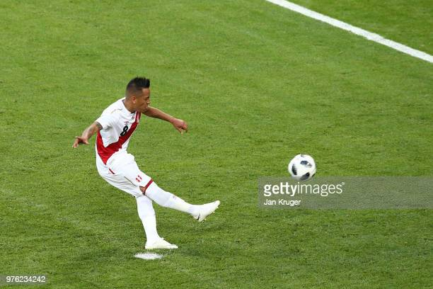 Christian Cueva of Peru misses a penalty during the 2018 FIFA World Cup Russia group C match between Peru and Denmark at Mordovia Arena on June 16...