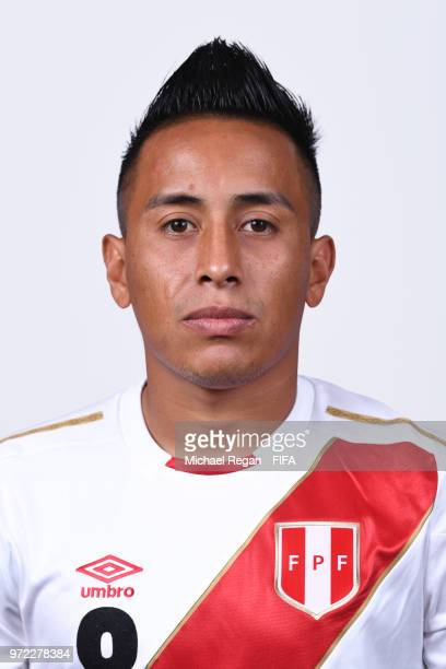 Christian Cueva of Peru poses for a portrait during the official FIFA World Cup 2018 portrait session at the Team Hotel on June 11 2018 in Moscow...