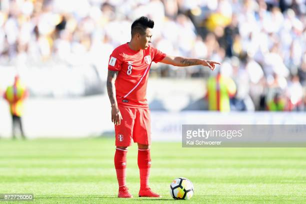 Christian Cueva of Peru reacting during the 2018 FIFA World Cup Qualifier match between the New Zealand All Whites and Peru at Westpac Stadium on...