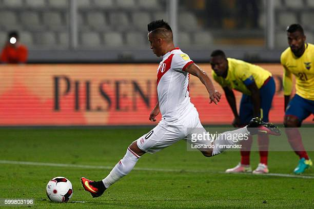 Christian Cueva of Peru takes a penalty to score the first goal of his team during a match between Peru and Ecuador as part of FIFA 2018 World Cup...