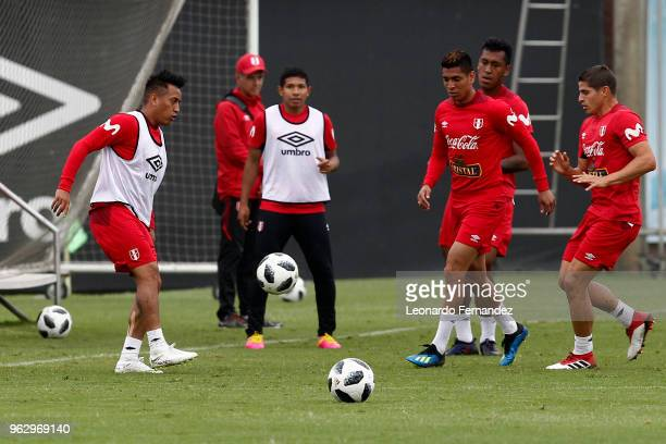 Christian Cueva Paolo Hurtado and Aldo Corzo during a training session ahead of FIFA World Cup Russia 2018 on May 25 2018 in Lima Peru