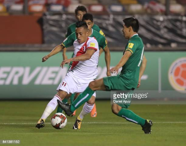 Christian Cuevaof Peru drives the ball during a match between Peru and Bolivia as part of FIFA 2018 World Cup Qualifiers at Monumental Stadium on...