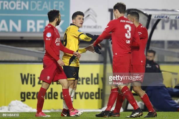 Christian Cuevas of FC Twente Manu Garcia of NAC Breda Thomas Lam of FC Twente Oussama Assaidi of FC Twente during the Dutch Eredivisie match between...