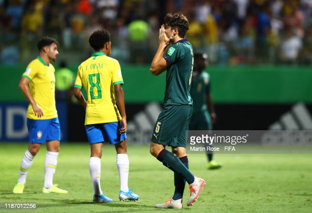 Christian Dalle Mura of Italy reacts to a near chance during the FIFA U17 World Cup Quarter Final match between Italy and Brazil at the Estádio...