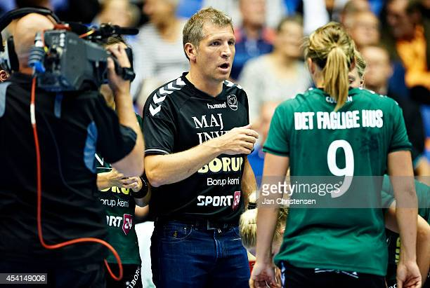 Christian Dalmose head coach of Viborg HK giving instructions during the Super Cup Final between Viborg HK and FC Midtjylland in Gigantium on August...