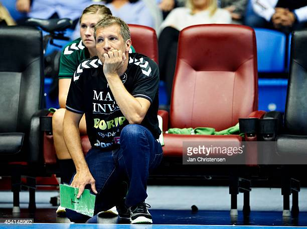 Christian Dalmose head coach of Viborg HK looks on during the Super Cup Final between Viborg HK and FC Midtjylland in Gigantium on August 22 2014 in...