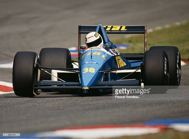 Christian Danner of Germany drives the Rial Racing Rial ARC2 Ford Cosworth DFR V8 during practice for the Mobil 1 German Grand Prix on 29 July 1989...