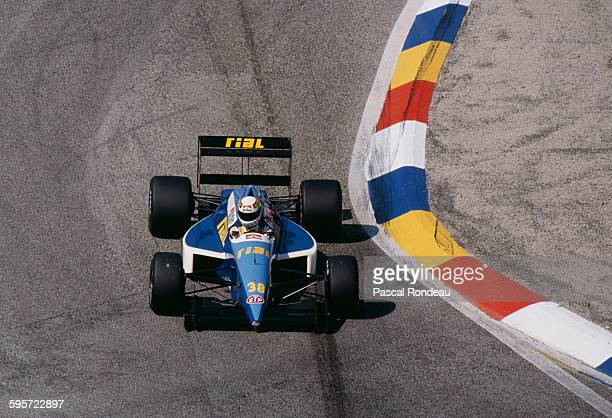 Christian Danner of Germany drives the Rial Racing Rial ARC2 Ford Cosworth DFR V8 during practice for the French Grand Prix on 8 July 1989 at the...