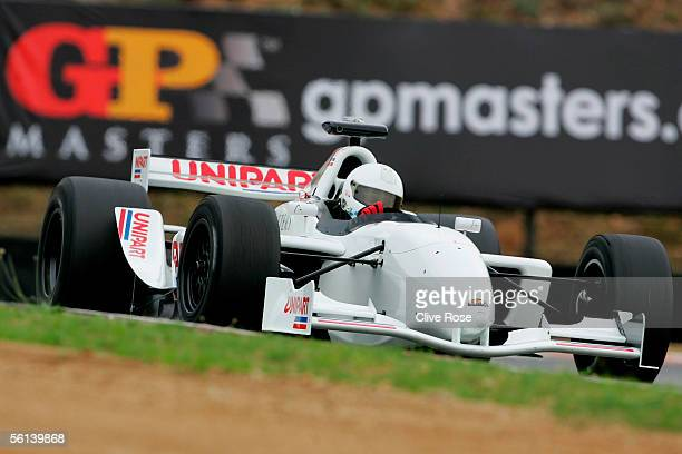 Christian Danner of Germany in action during a Practice session prior to the Grand Prix Masters race at the Kyalami Circuit on November 11 2005 in...