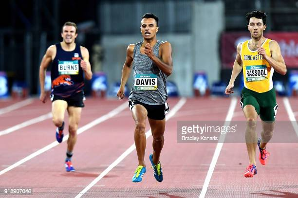 Christian Davis wins the semi final of the Men's 400m event during the Australian Athletics Championships Nomination Trials at Carrara Stadium on...