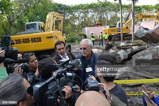 Christian de Berdouare is interviewed by media as the former Miami Beach home of the late Colombian drug lord Pablo Escobar as it is demolished on...