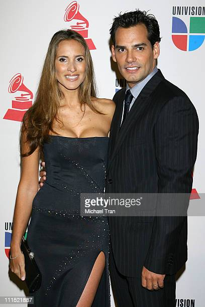 Christian de la Fuente and his wife Angelica Castro arrive at the 9th Annual Latin Grammy Awards held at Toyota Center on November 13 2008 in Houston...