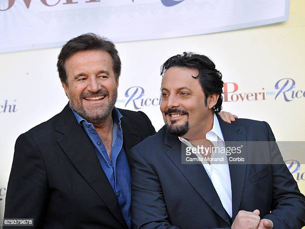Christian De Sica and Enrico Brignano attend a photocall for 'Poveri Ma Ricci' on December 12 2016 in Rome Italy Photo by Camilla Morandi...