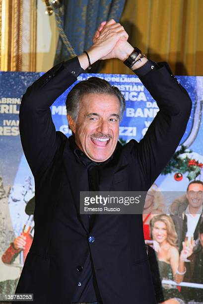 """Christian De Sica attends the """"Vacanze Di Natale A Cortina"""" photocall at St Regis Hotel on December 14, 2011 in Rome, Italy."""