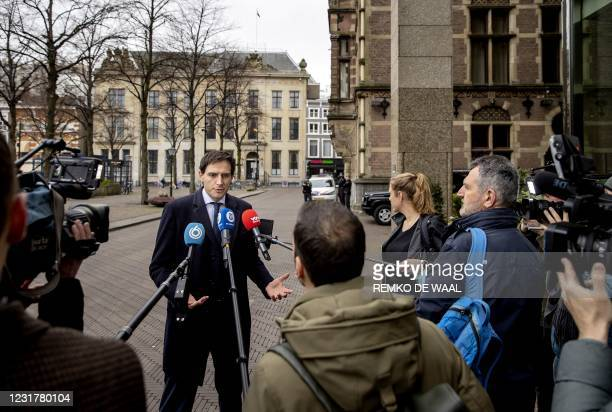 Christian Democratic Appeal Party leader Wopke Hoekstraspeaks speaks to the press as he arrives prior to a party meeting of the CDA in Nieuwspoortin,...
