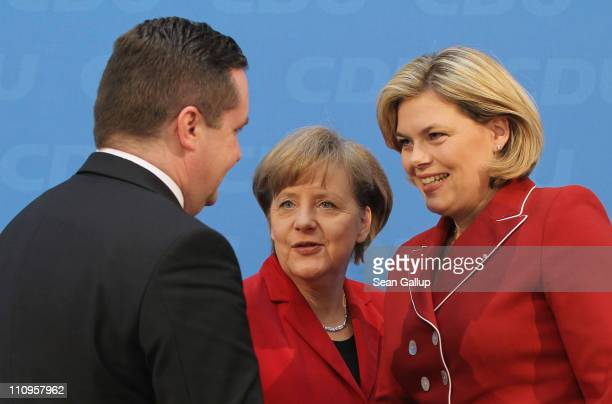 Christian Democratic governor of BadenWuerttemberg Stefan Mappus German Chancellor and leader of the CDU Angela Merkel and CDU candidate in...