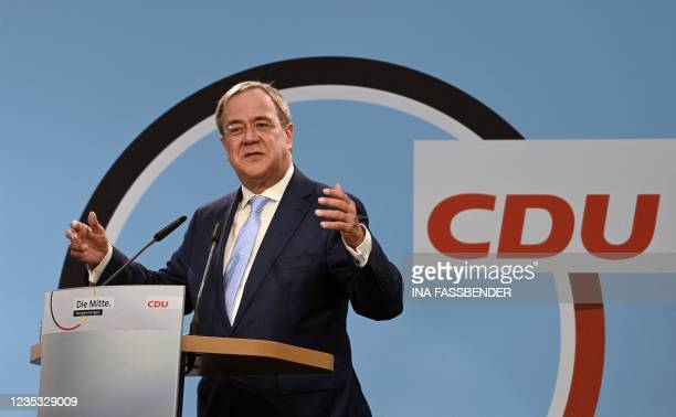 Christian Democratic Union leader and chancellor candidate Armin Laschet addresses an electoral meeting in Delbrueck-Steinhorst, western Germany, on...