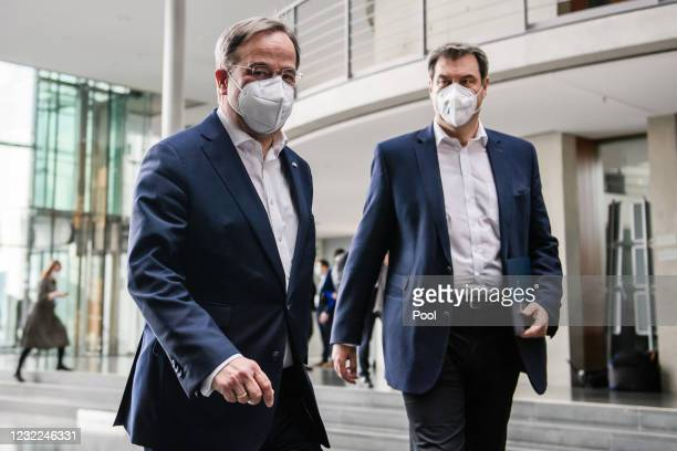 Christian Democratic Union party chairman Armin Laschet and State Premier of Bavaria and Christian Social Union chairman Markus Soeder arrive for a...