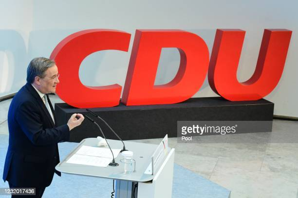 Christian Democratic Union party chairman Armin Laschet speaks on the occasion of the start of the participation campaign for the CDU's election...