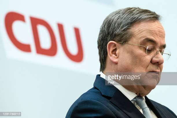 Christian Democratic Union party chairman, Armin Laschet speaks to media at Konrad Adenauer House on March 15, 2021 in Berlin, Germany. CDU...