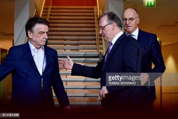 Christian Democratic Union politician and SaxonyAnhalt Premier Reiner Haseloff Social Democratic Party executive Michael Groschek and Mayor of...