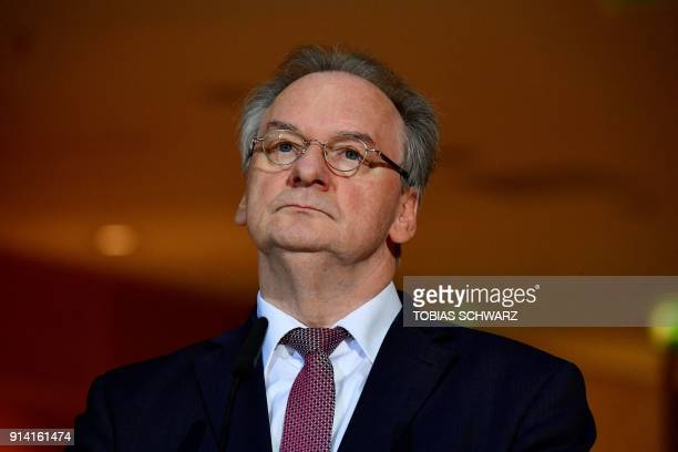 Christian Democratic Union politician and SaxonyAnhalt Premier Reiner Haseloff looks on during a press statement at the SPD headquarters on February...