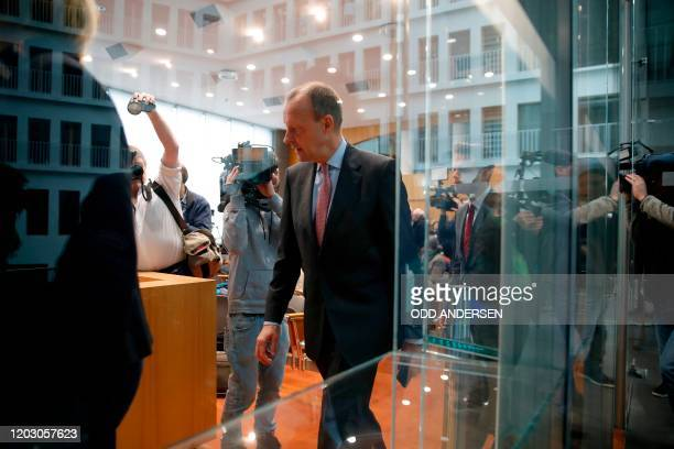 Christian Democratic Union politician Friedrich Merz arrives to hold a press conference on February 25 2020 in Berlin to comment on his candidacy as...