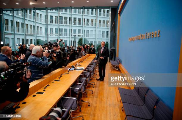 Christian Democratic Union politician Friedrich Merz poses for photographers as he arrives to hold a press conference on February 25 2020 in Berlin...