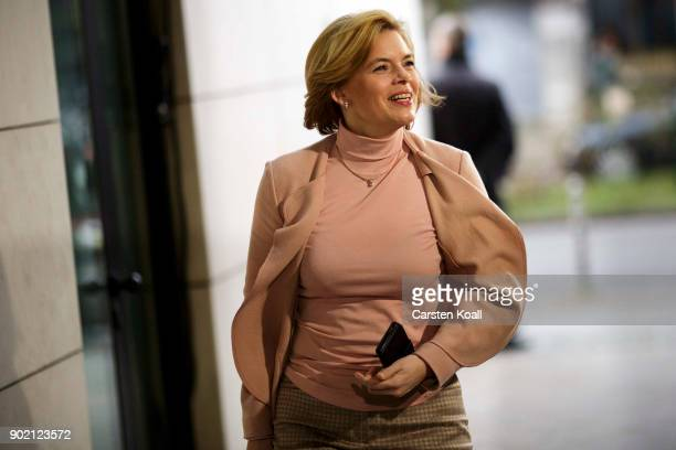 Christian Democratic Union vice chairperson Julia Kloeckner arrives at the headquarters of the German Social Democrats for preliminary coalition...