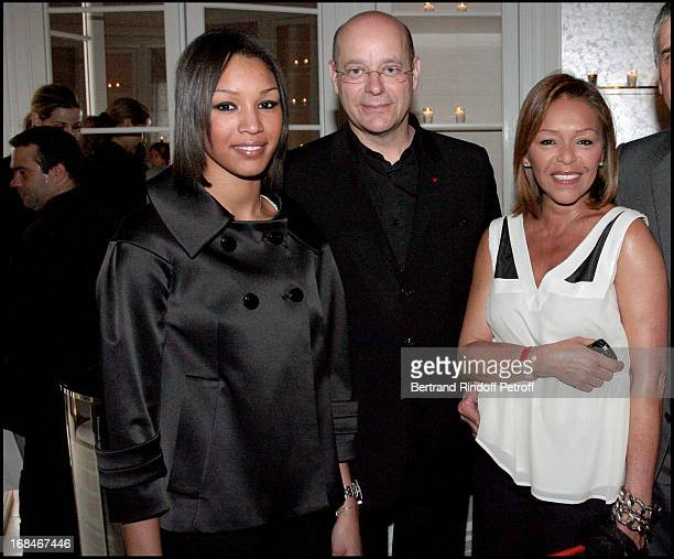 Christian Deydier President Des Antiquaires Michele Bennett and daugther Anya Duvalier at Dior Presents The Diorphone At The Dior Boutique Avenue...