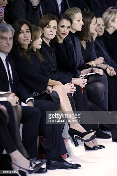 Christian Dior CEO Sidney Toledano and his wife Katia French actress Isabelle Huppert US actresses Sigourney Weaver Jessica Alba and Leelee Sobieski...