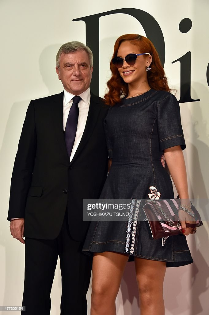 Christian Dior CEO Sidney Toledano smiles with pop star Rihanna at a