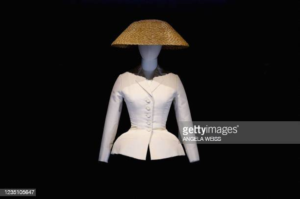 """Christian Dior's 'bar jacket"""" is on display at the Christian Dior: Designer of Dreams exhibition at the Brooklyn Museum in New York, on September 7,..."""