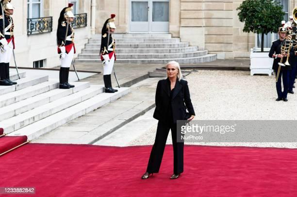 Christian Dior's Italian fashion designer Maria GraziaChiuri arrives for state diner with Italian President Sergio Mattarella and his daughter Laura...