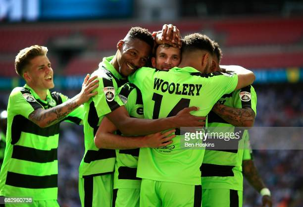 Christian Doidge of Forest Green celebrates after scoring his team's second goal of the game during the Vanarama National League Play Off Final...