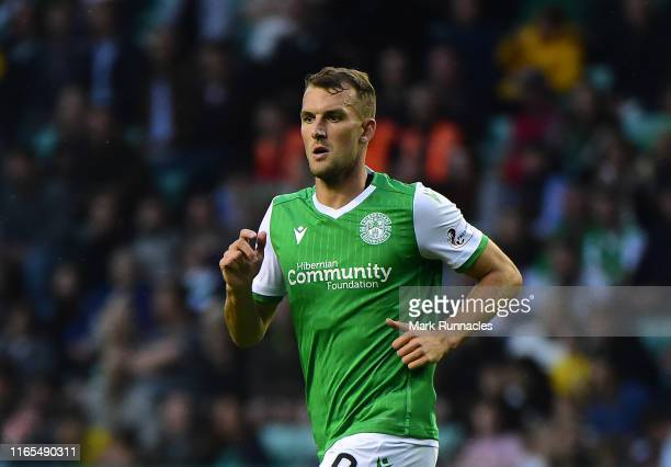 Christian Doidge of Hibernian in action during the PreSeason Friendly match between Hibernian FC and Newcastle United FC at Easter Road on July 30...