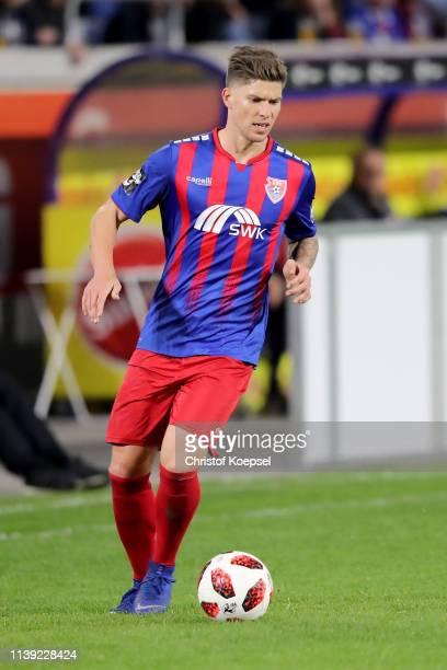 Christian Dorda of Krefeld runs with the ball during the 3 Liga match between KFC Uerdingen 05 and 1 FC Kaiserslautern at SchauinslandReisenArena on...