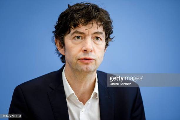 Christian Drosten Director of the Institute for Virology at Charite Berlin hospital speaks to the media during a press conference on the spread of...