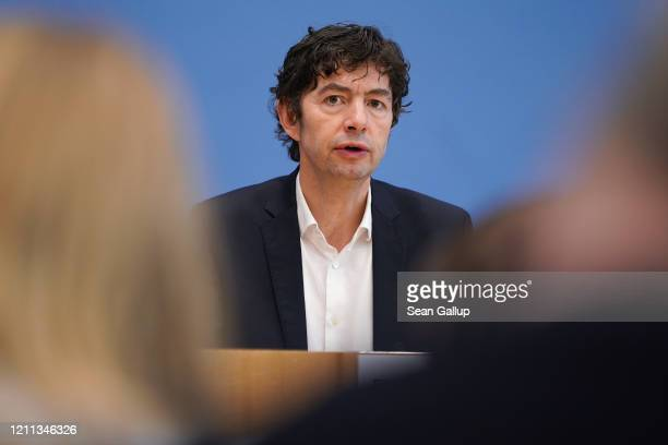 Christian Drosten Director of the Institute for Virology at Charite Berlin hospital speaks to the media over the current coronavirus outbreak on...
