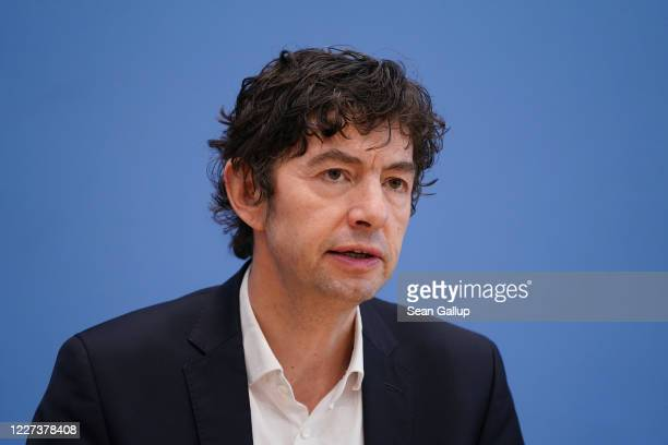 Christian Drosten Director of the Institute for Virology at Charite Berlin hospital speaks to the media over the current coronavirus outbreak on...