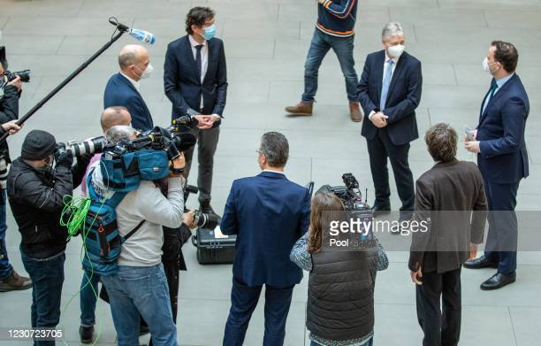 Christian Drosten, Director of the Institute for Virology, Charite Berlin, Gernot Marx, President of DIVI, and Jens Spahn, Federal Minister of...