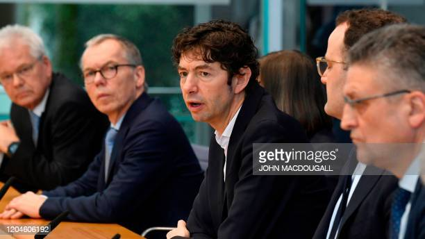 Christian Drosten director of the Institute of Virology at Berlin's Charite hospital speaks during a press conference in Berlin on March 2 to comment...