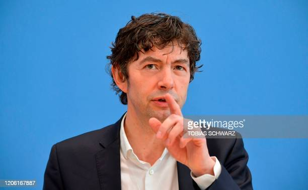 Christian Drosten director of the Institute of Virology at Berlin's Charite hospital gives a press conference in Berlin on March 9 to comment on the...