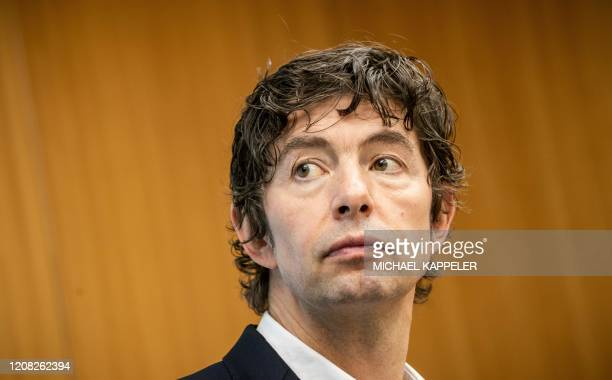 Christian Drosten director of the Institute of Virology at Berlin's Charite hospital attends a press conference in Berlin on March 26 to comment the...