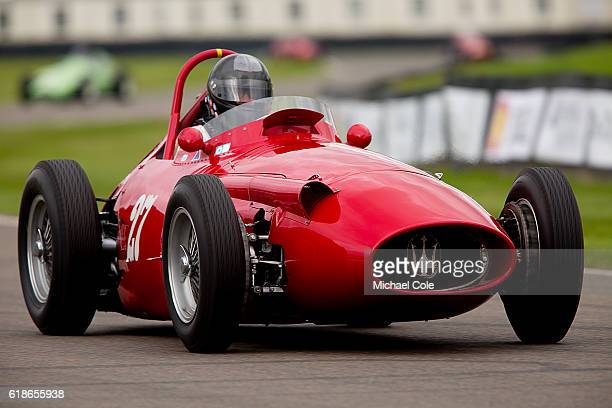 Christian Dumolin driving his 1954 Maserati 250F single seater racing car in The Richmond Trophy race at Goodwood on September 9 2016 in Chichester...