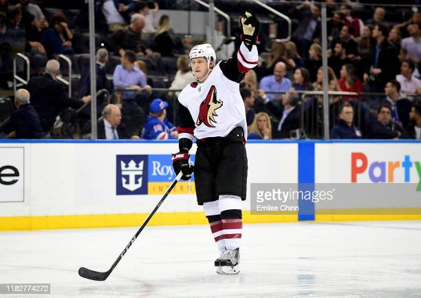 Christian Dvorak of the Arizona Coyotes reacts during the third period of their game against the New York Rangers at Madison Square Garden on October...