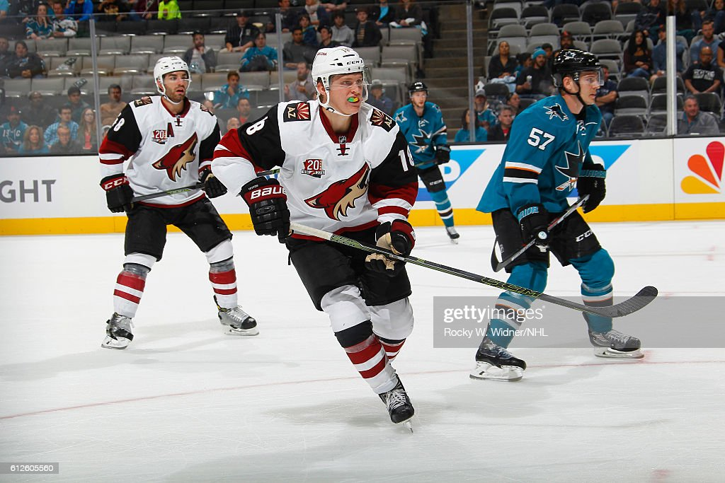 Christian Dvorak #18 of the Arizona Coyotes skates against the San Jose Sharks at SAP Center on September 30, 2016 in San Jose, California.
